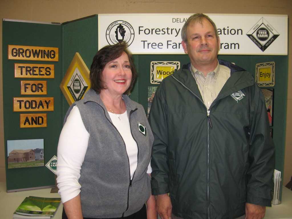 From left: With his wife Cathy by his side, Brian Michalski was honored as the 2014 Delaware Tree Farmer of the Year at the annual meeting of the Delaware Forestry Association in Bridgeville recently. Michalski is a four-time chair of the state Tree Farm Committee and has operated his 59-acre tree farm near Greenwood, Sussex County since it was first certified in 1997. He has also been DFA's president for four years.