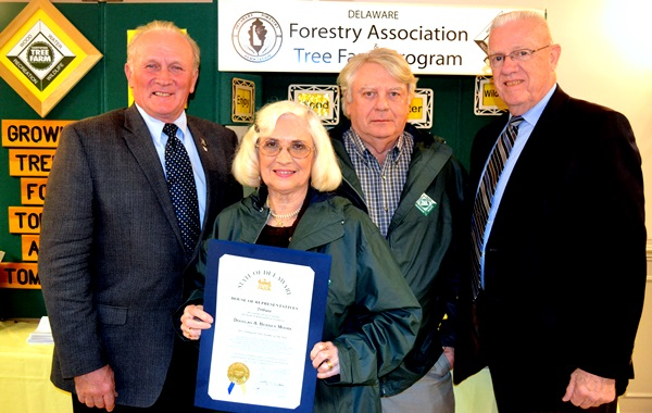 From left, Rep. David L. Wilson joined Bernice and Douglas Moore and Rep. Harvey R. Kenton to honors the Moores for their selection as the 2015 Tree Farmers of the Year at the Delaware Forestry Associaiton's annual banquet at the Felton Fire Hall.