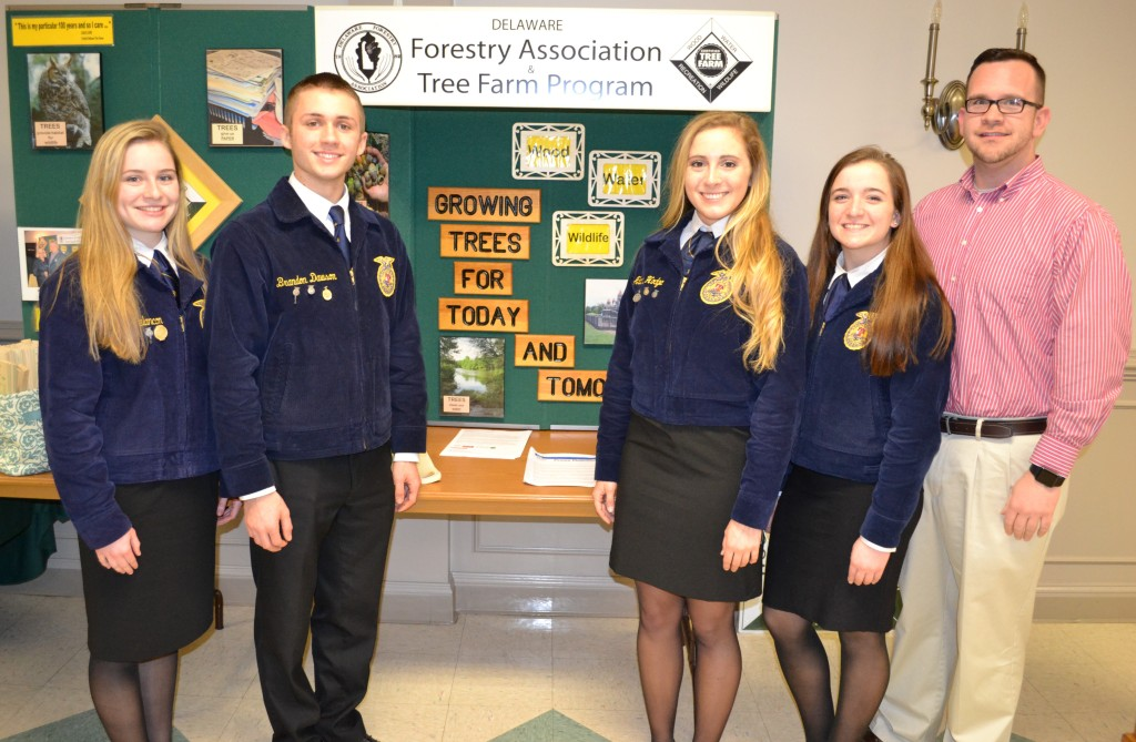 The Middletown FFA chapter's forestry team – (from left) Laura Melancon, Brandon Dawson, Alana Hodge, Lauren Berry and their instructor Jeffrey Billings – were recognized at the annual meeting of the Delaware Forestry Association. The team ranked in the top ten at the 88th National FFA Convention & Expo in Louisville, KY. with Dawson placing fourth in the individual competition in the entire United States.